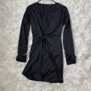 Long Sleeve Satin split dress